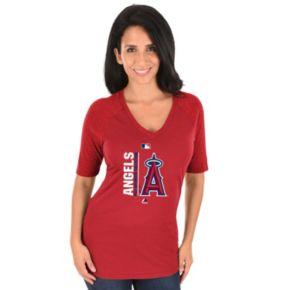 Women's Majestic Los Angeles Angels of Anaheim AC Team Icon Raglan Tee