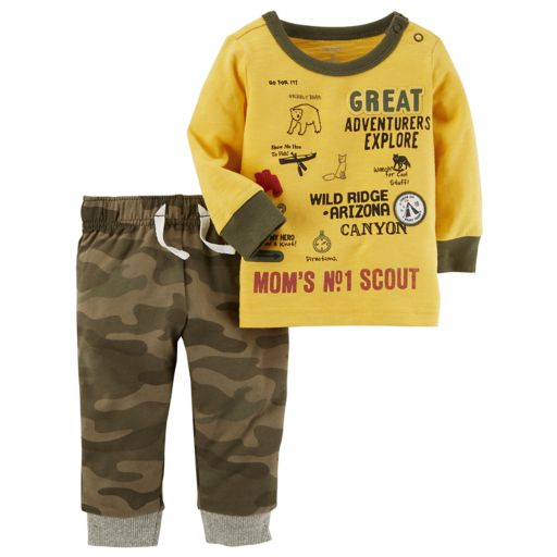 Baby Boy Carter's Explorer Long Sleeved Graphic Tee & Camo Jogger Pants Set