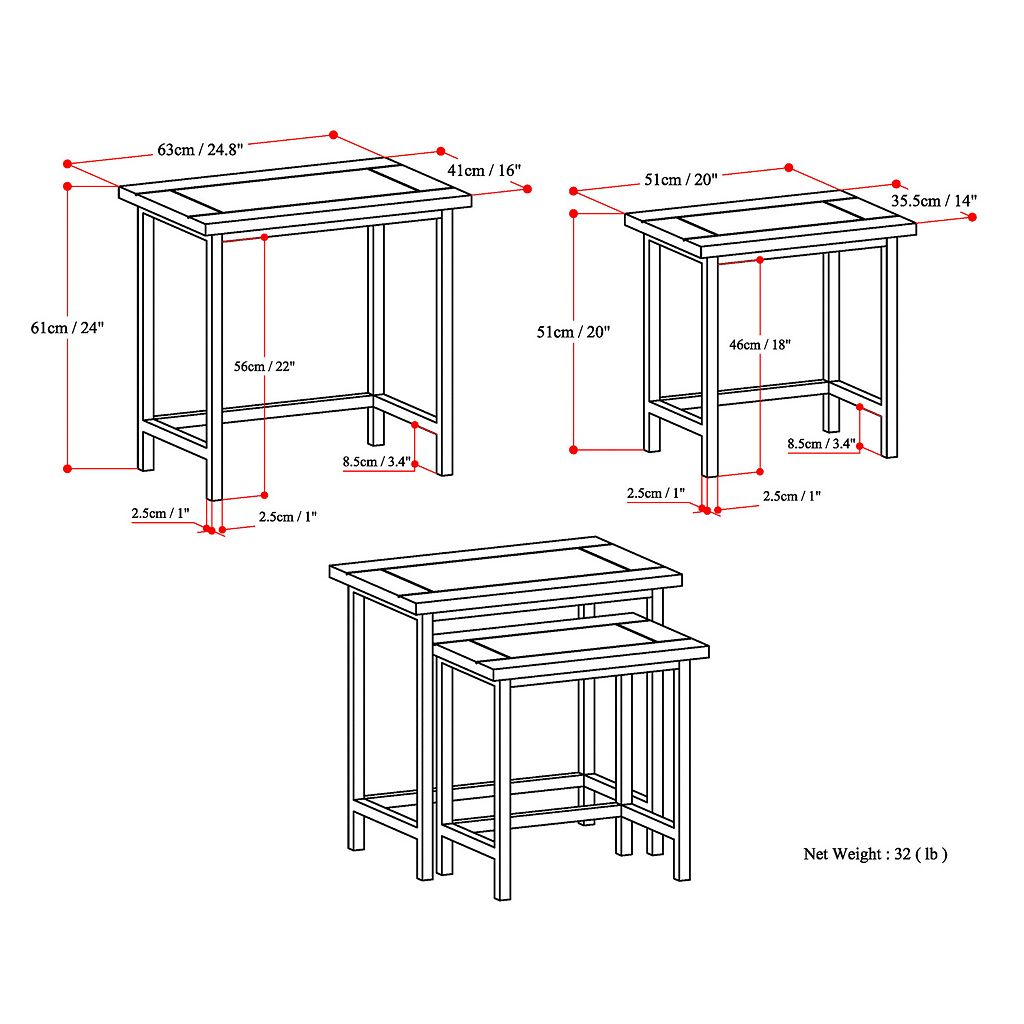 Simpli Home Skyler Nesting End Table 2-piece Set