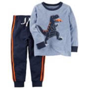Baby Boy Carter's Dinosaur Applique Tee & Striped Jogger Pants Set