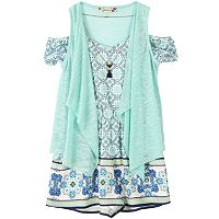 Girls 7-16 Speechless Print Romper, Drape-Front Vest & Necklace Set