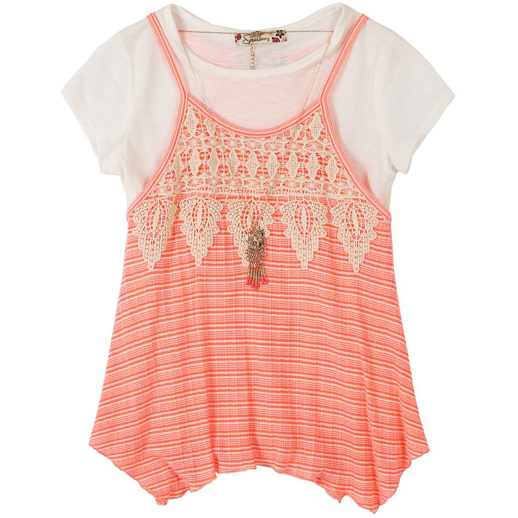 Girls 7-16 Speechless Lace T-Shirt Top & Necklace Set