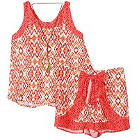 Girls 7-16 Mosaic Tank Top, Shorts & Necklace Set