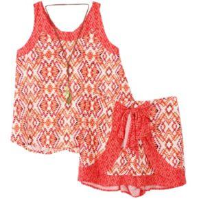 Girls 7-16 Mosaic Tank Top, Shorts & Necklace Set