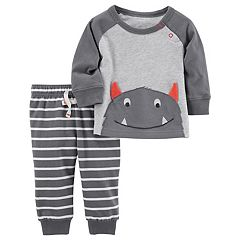 Baby Boy Carter's Monster Raglan Top & Striped Pants Set