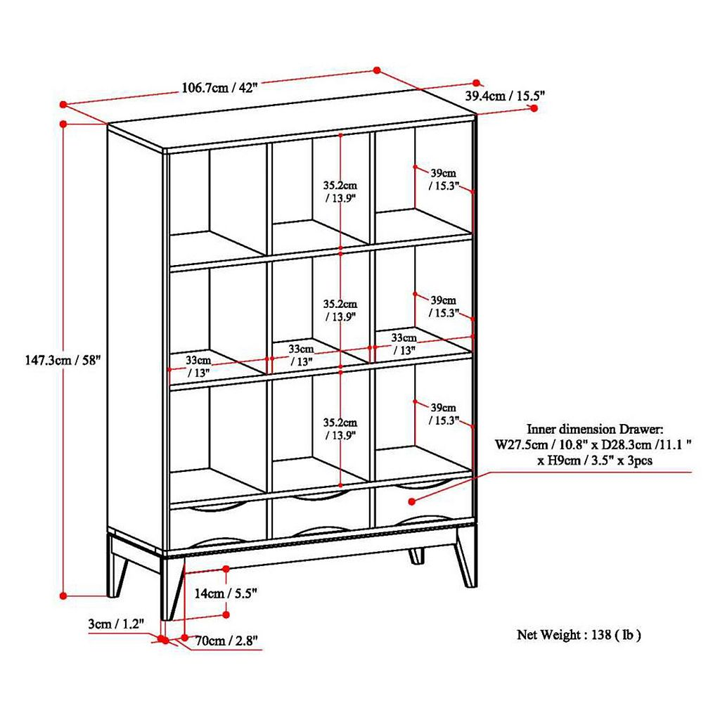 Simpli Home Harper 3-Drawer Cube Storage Shelf