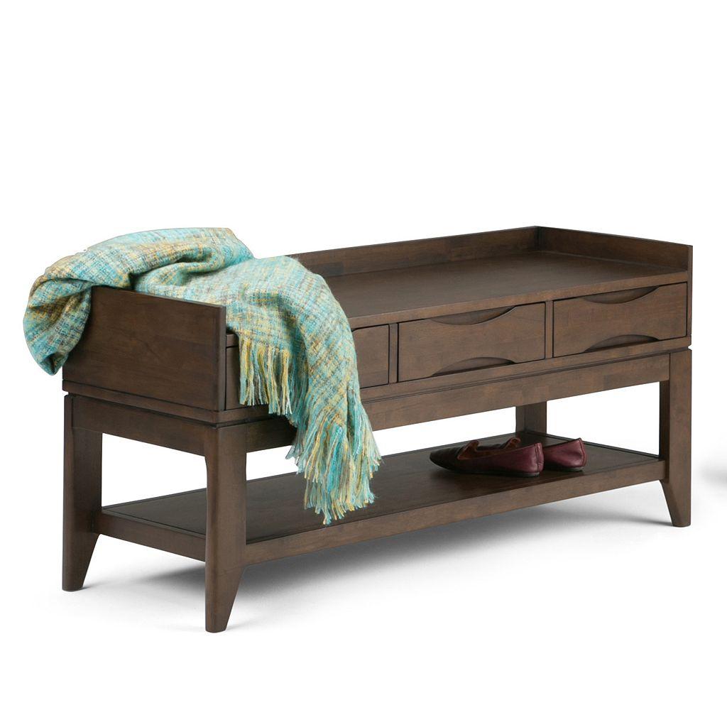 Simpli Home Harper 3-Drawer Storage Bench
