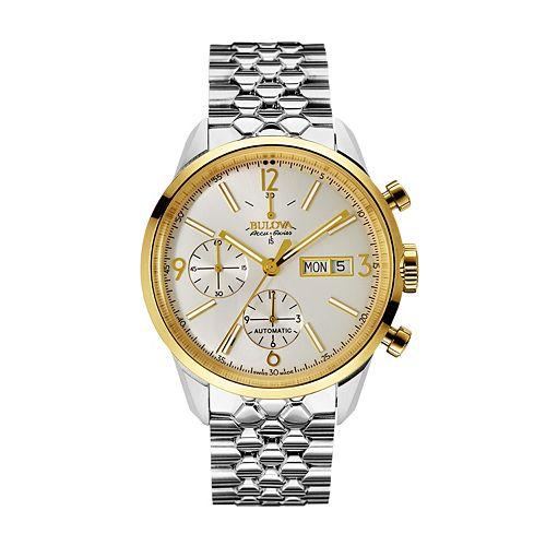 Bulova Men's Accu Swiss Two Tone Stainless Steel Automatic Watch - 65C113