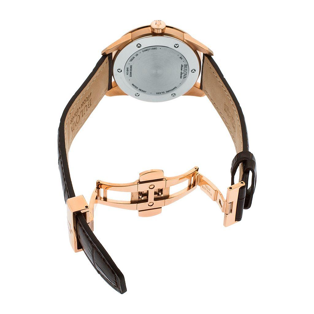 Bulova Men's Accu Swiss Leather Automatic Watch - 64B124