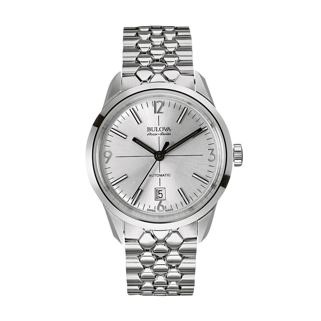 Bulova Men's Accu Swiss Stainless Steel Automatic Watch - 63B177