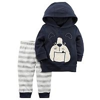Baby Boy Carter's Bulldog French Terry Hoodie & Striped Jogger Pants Set