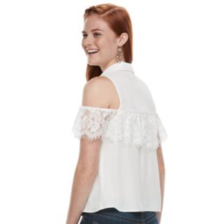 Juniors' Love, Fire Lace Ruffle Cold-Shoulder Blouse