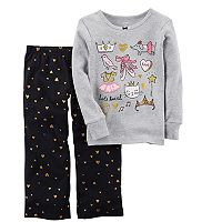 Baby Girl Carter's Foil Ballet Graphics Top & Glitter Heart Bottoms Pajama Set