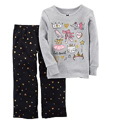 Baby Girl Carter's Foil Ballet Graphics Top & Glitter Heart Bottoms Pajama Set