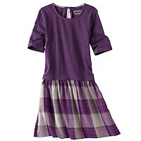 Girls 4-10 Jumping Beans® Roll Cuff Knit & Woven Dress