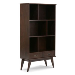 Simpli Home Draper Mid Century Wide Storage Bookshelf
