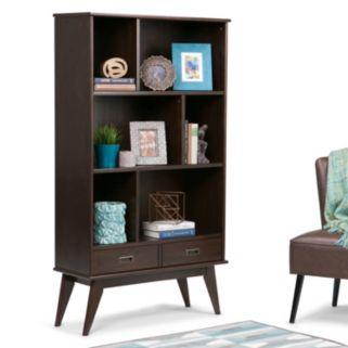 Simpli Home Draper Mid Century Wide Storage Bookshelf