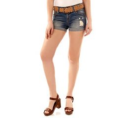 Juniors' Wallflower Luscious Curvy Ripped Jean Shortie Shorts