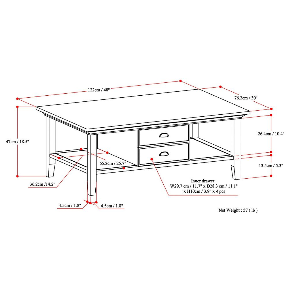 Simpli Home Redmond 2-Drawer Coffee Table