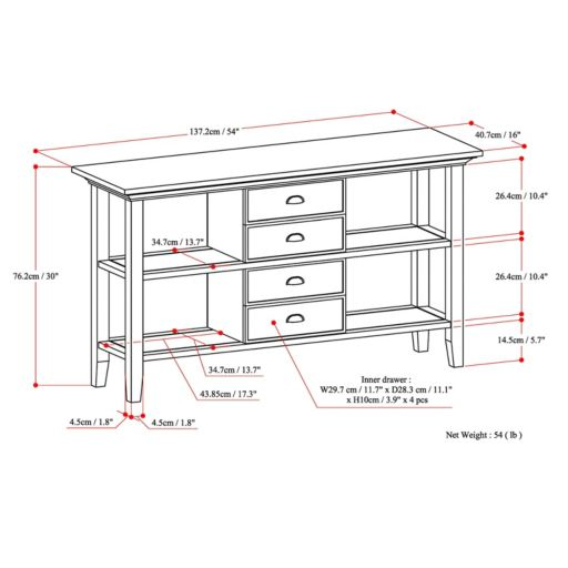 Simpli Home Redmond 4-Drawer Console Table