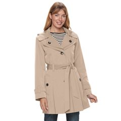 Women's TOWER by London Fog Hooded Double-Layer Lapel Rain Jacket