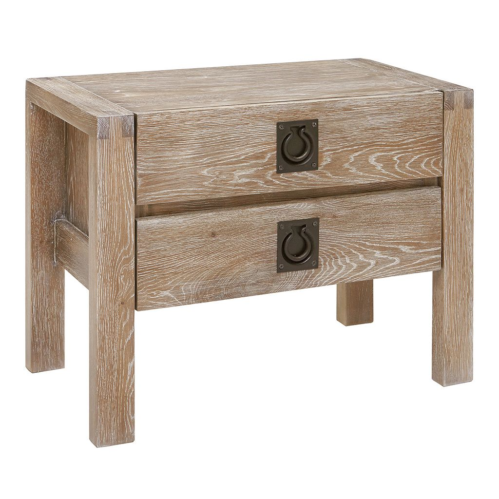 INK+IVY Oaktown Washed White Nightstand