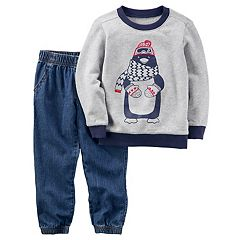 Baby Boy Carter's 2 pc Penguin Shirt & Jeans Set