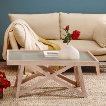 INK+IVY Wyatt Frosted Glass Coffee Table