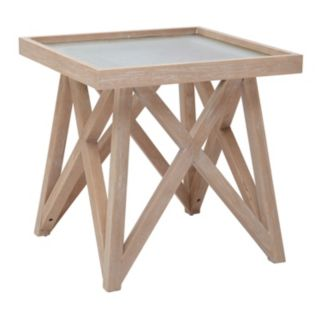 INK+IVY Wyatt Frosted Glass End Table