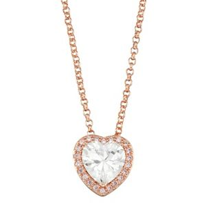 Lily & Lace 14k Rose Gold Plated Cubic Zirconia Heart Halo Pendant