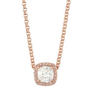 Lily & Lace 14k Rose Gold Plated Cubic Zirconia Square Halo Pendant
