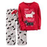 "Toddler Girl Carter's ""Good Morning Goodnight"" Scotty Dog Top & Microfleece Bottoms Pajama Set"