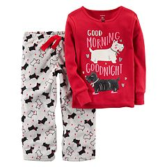 Toddler Girl Carter's 'Good Morning Goodnight' Scotty Dog Top & Microfleece Bottoms Pajama Set