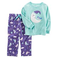 Toddler Girl Carter's Crescent Moon Applique Top & Bottoms Microfleece Pajama Set