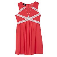 Girls 7-16 IZ Amy Byer Georgette Crochet Trim Dress with Necklace