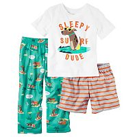 Toddler Boy Carter's Graphic Tee, Striped Shorts & Print Pants Pajama Set