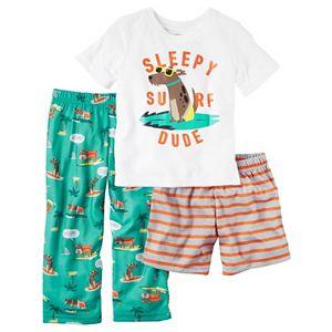 69022b0ef Toddler Boy Carter's Graphic Tee, Striped Shorts & Print Pants Pajama Set