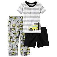 Toddler Boy Carter's Striped Tee, Solid Shorts & Print Pants Pajama Set