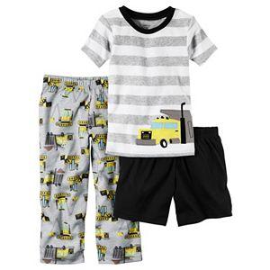 Toddler Boy Carter's Striped Tee, Solid Shorts & Print Pants Pajama Set
