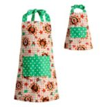 Girls 4-16 Dollie & Me Reversible Thanksgiving Turkey & Christmas Tree Apron Set