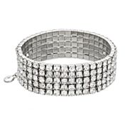 Simulated Crystal Multi Row Stretch Bracelet