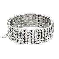 Simulated Crystal Multi Row Stretch Bracelet