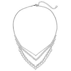Simulated Crystal Cup Chain Statement Necklace