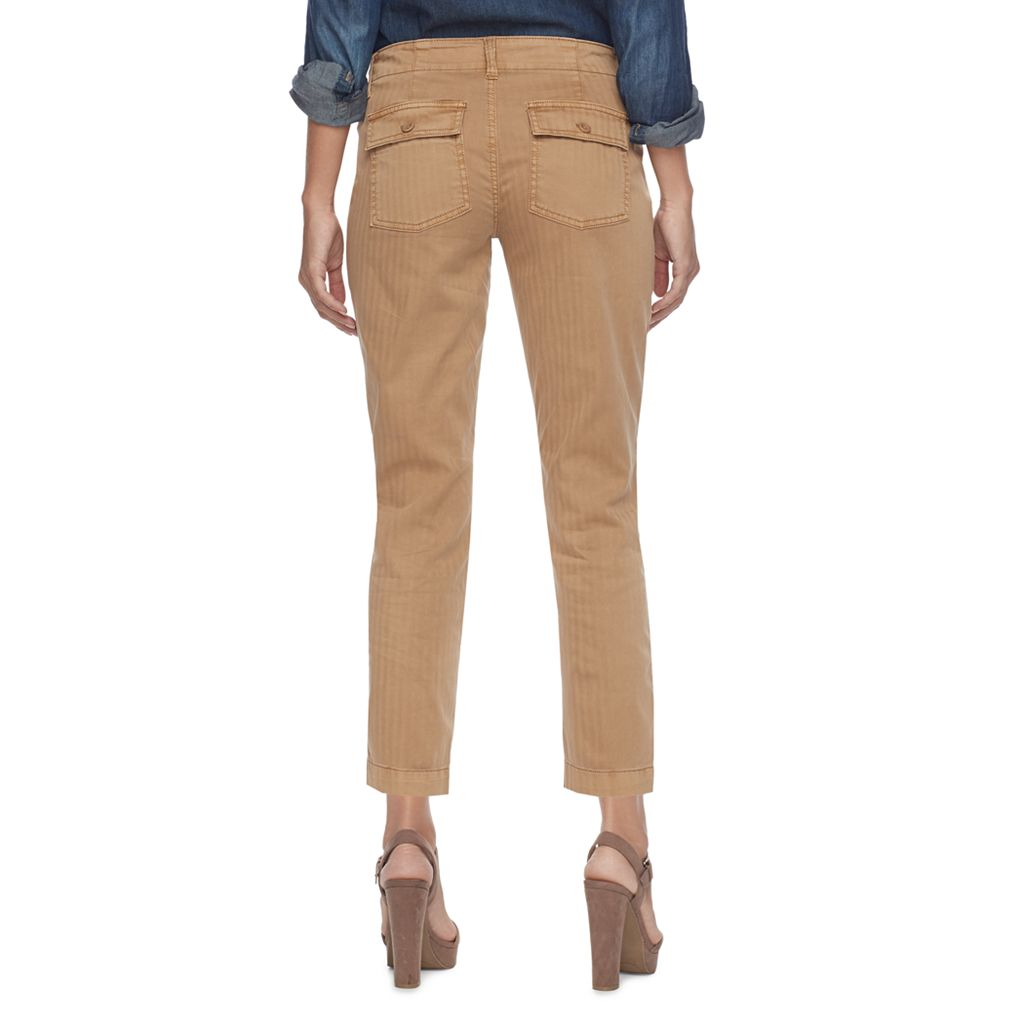 Petite SONOMA Goods for Life™ Straight-Leg Sateen Ankle Pants