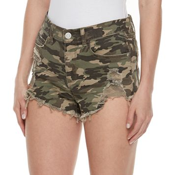 Juniors' Mudd® Ripped Camouflage Shortie Shorts