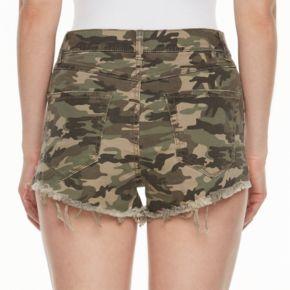 Juniors' Mudd® Ripped Camouflage Shortie Shorts