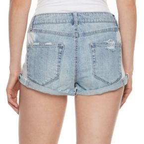 Juniors' Mudd® Ripped Two Tone Jean Shortie Shorts