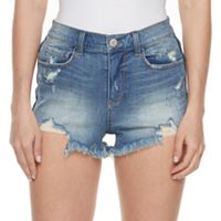 Juniors' Mudd® High Waist Frayed Jean Shortie Shorts