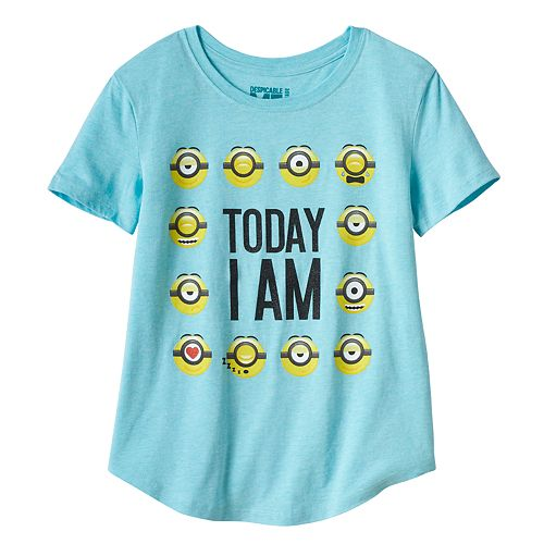 """Girls Plus Despicable Me Minions """"Today I Am"""" Glitter Graphic Tee"""