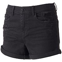 Juniors' Mudd® Ripped High Waisted Black Shortie Shorts